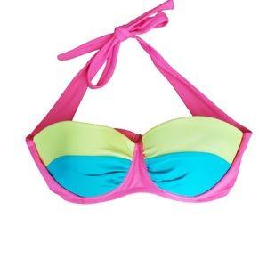 BODY GLOVE Bikini Top Halter Neon Pink Blue Size S